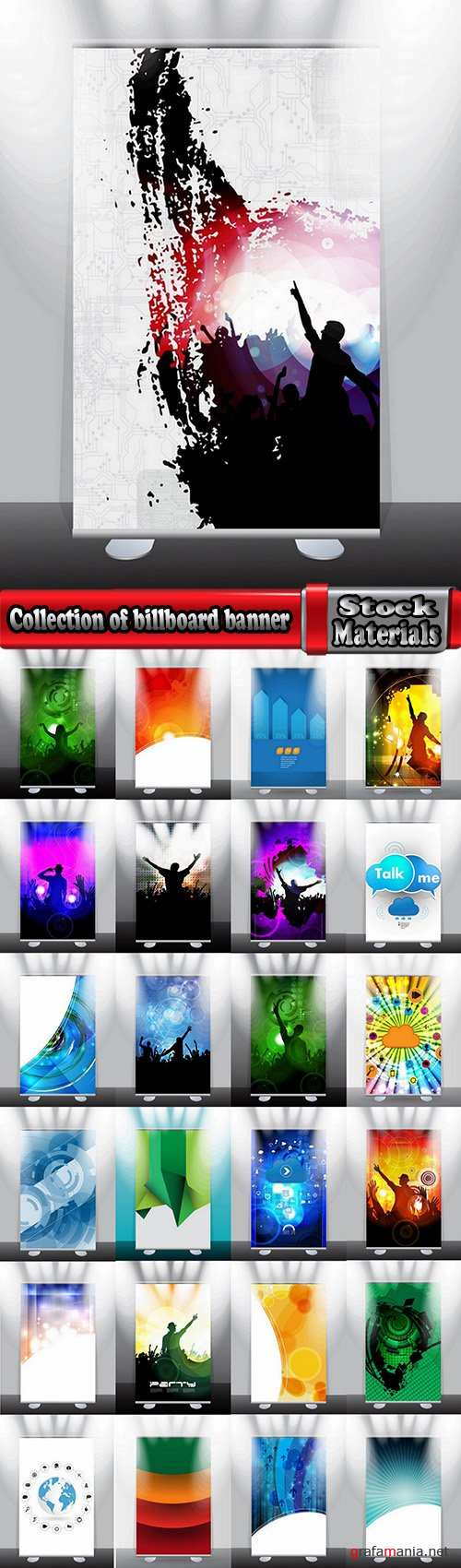 Collection of billboard banner stand stand showcase for advertising and different images 25 EPS