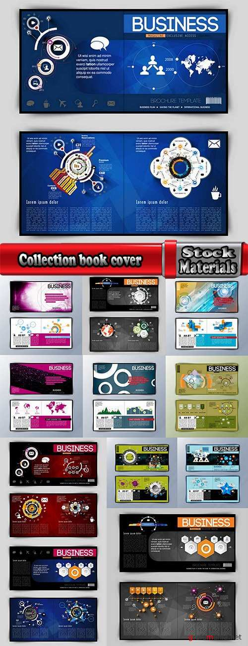 Collection book cover journal notebook flyer card business card banner vector image 70-12 EPS