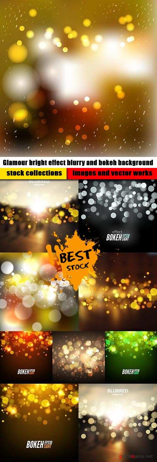 Glamour bright effect blurry and bokeh background