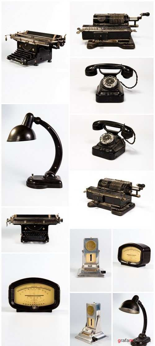 Vintage mechanical counting machine, Phone dialer, lamp table 12X JPEG