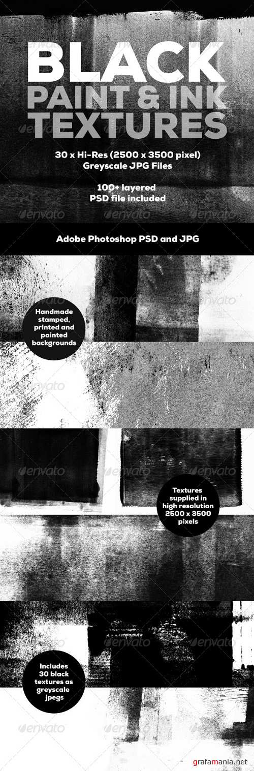 30 Black Paint and Ink Textures 5320594