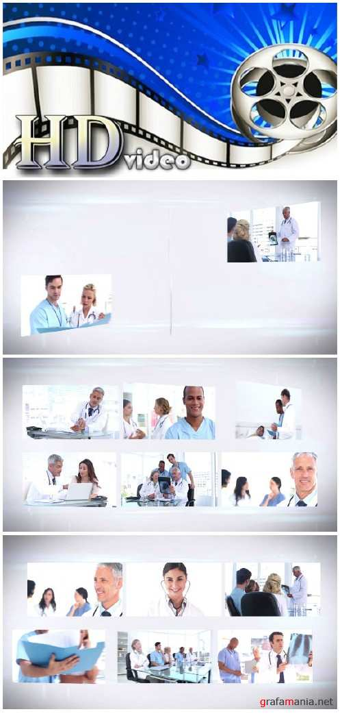 Video footage Medical team montage on white background