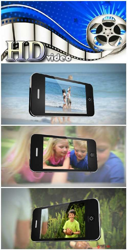 Video footage Smartphone displaying family outdoors in different locations