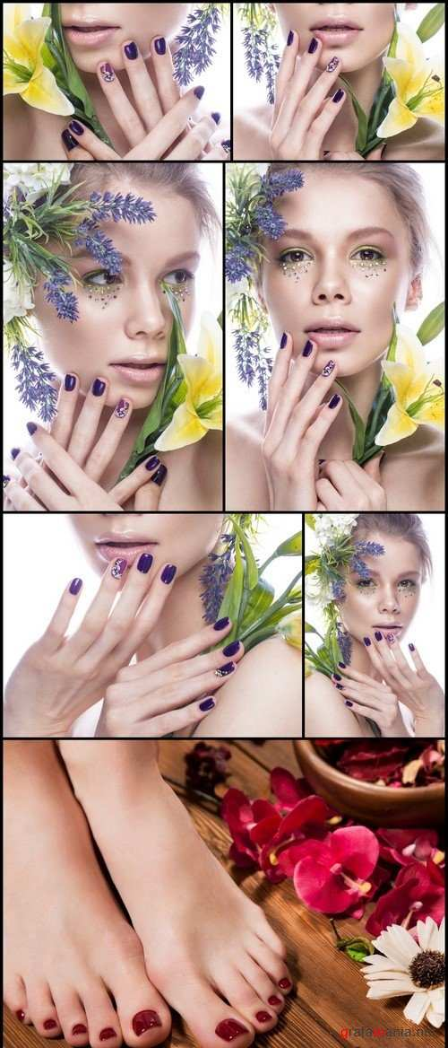 Beautiful girl with flowers and design nails manicure 7X JPEG