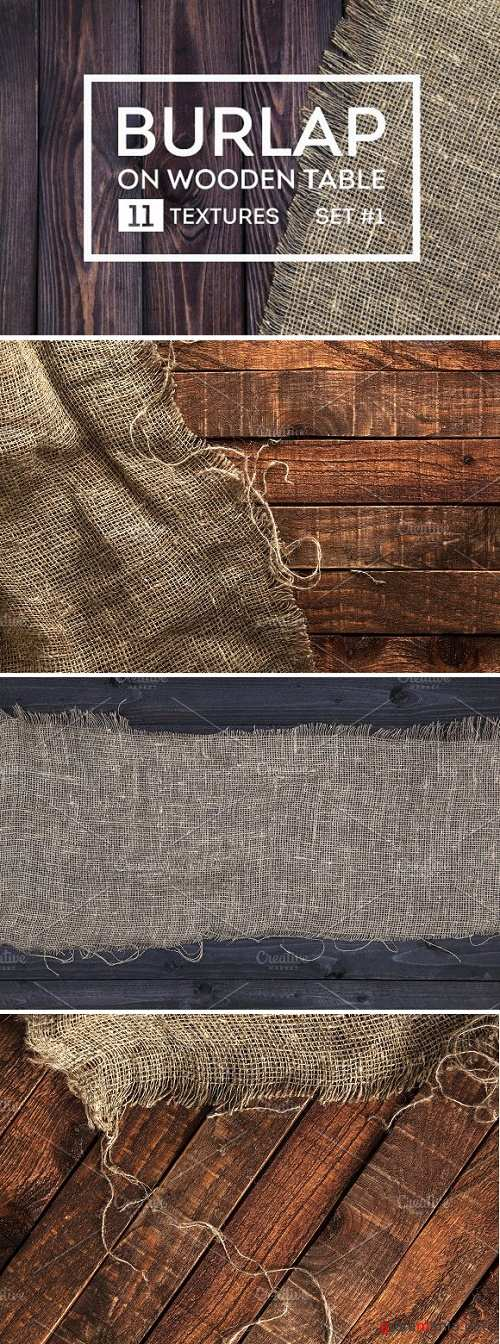 Rustic burlap on a wooden table - 1279115