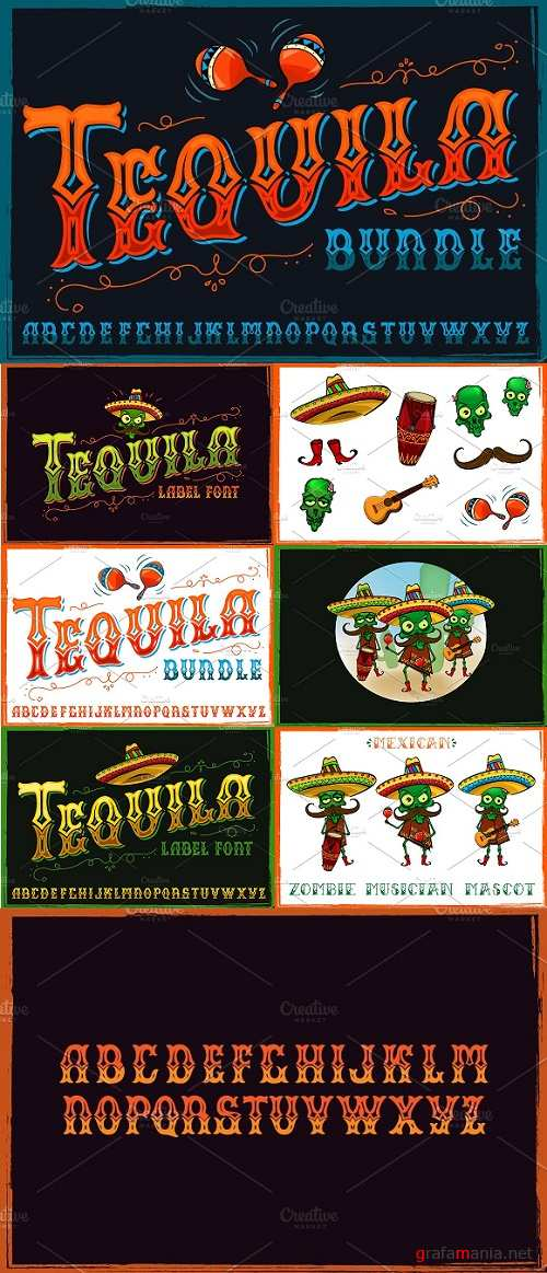 Tequila bundle Font Mascots and More 1217821