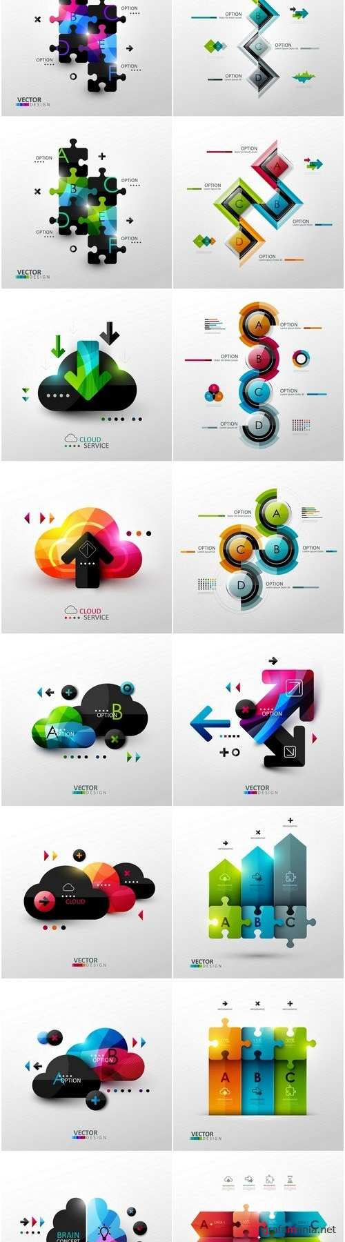 Infographics Design Templates 2 - Set of 16xEPS Professional Vector Stock