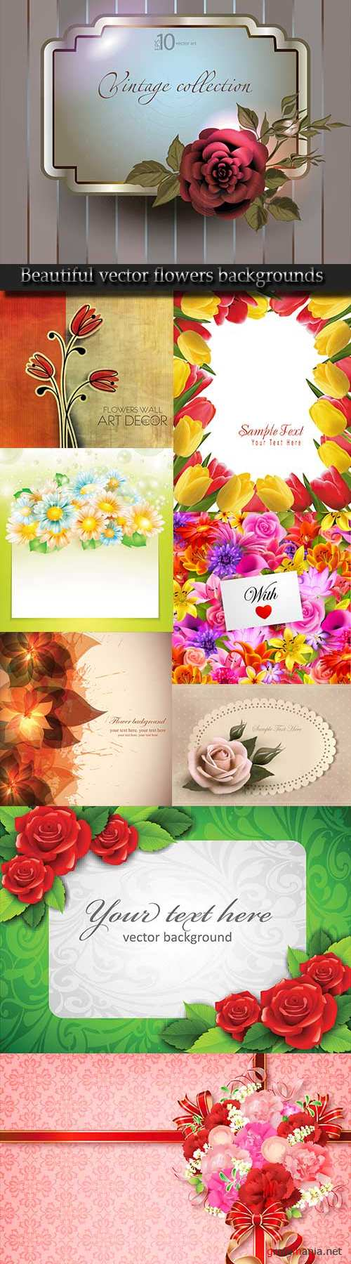 Beautiful vector flowers backgrounds