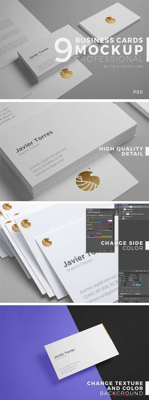 9 Business Cards Mockup Professional - 1276774