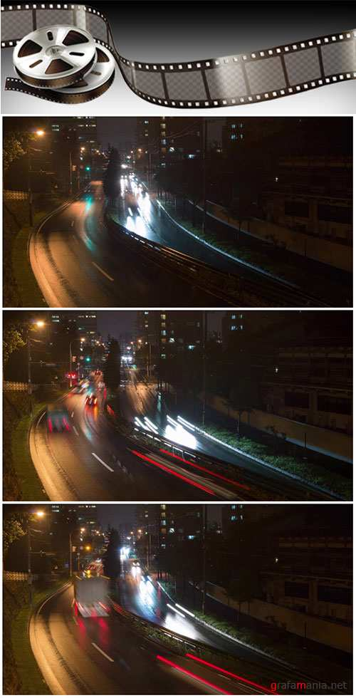 Video footage Time lapse of night traffic