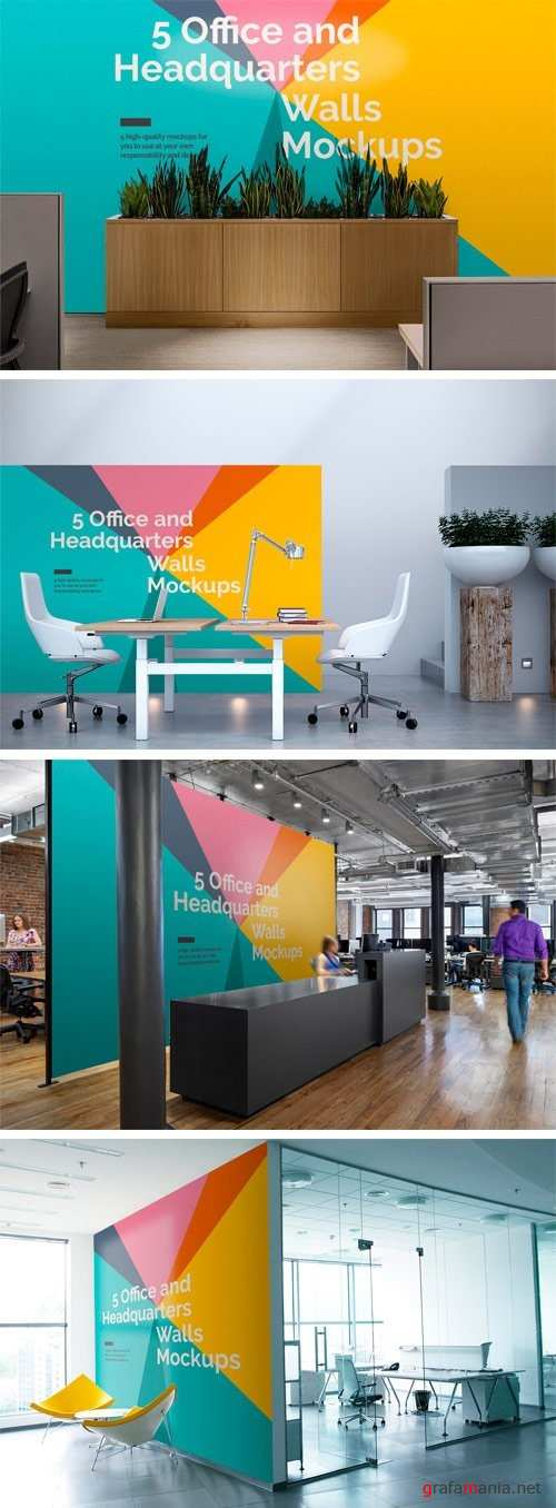 5 Office/Headquarters Walls Mockups - 1256987