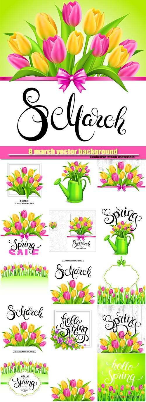 8 march background with handwritten calligraphy lettering and tulips bouquet