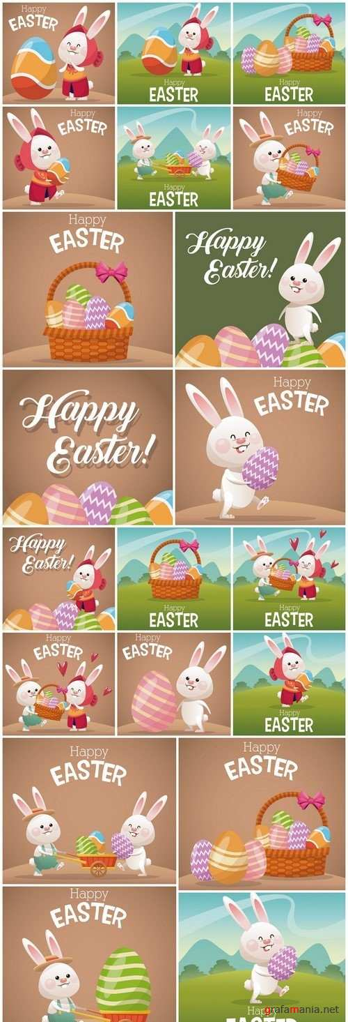 Happy easter card cute bunny egg decorating 20X EPS
