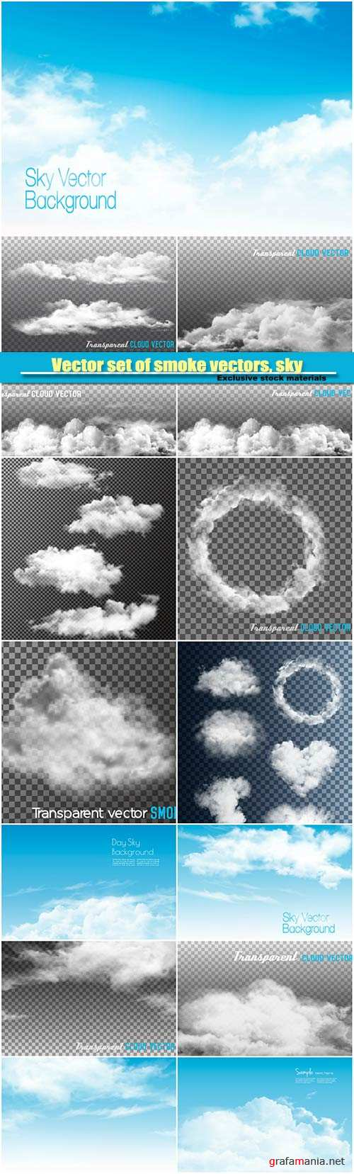 Vector set of smoke vectors, sky with clouds