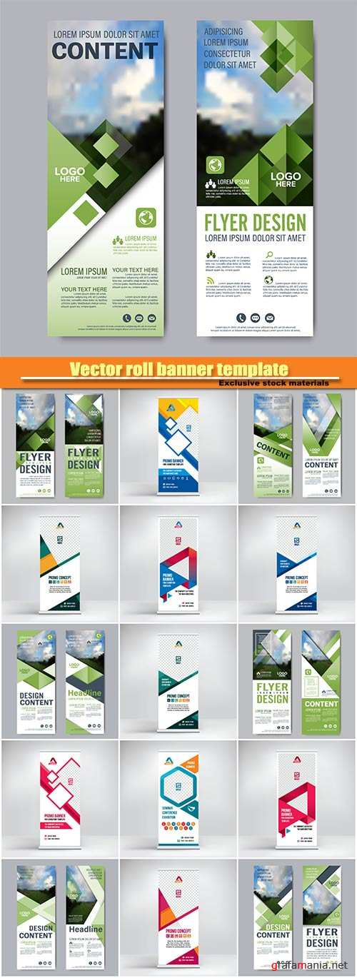 Vector roll banner template