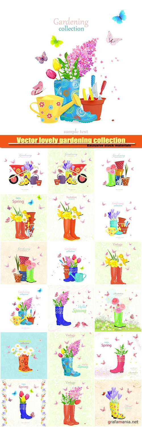 Vector lovely gardening collection, vintage banner with bouquet of spring flowers