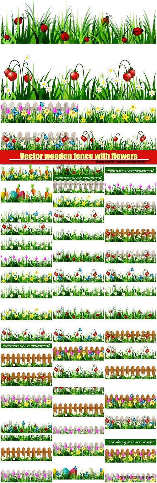 Vector wooden fence with flowers pink tulips and yellow daffodils borders seamless