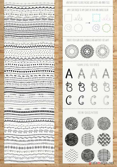 100 Pattern Brushes+9 Graphic Styles - 1295447