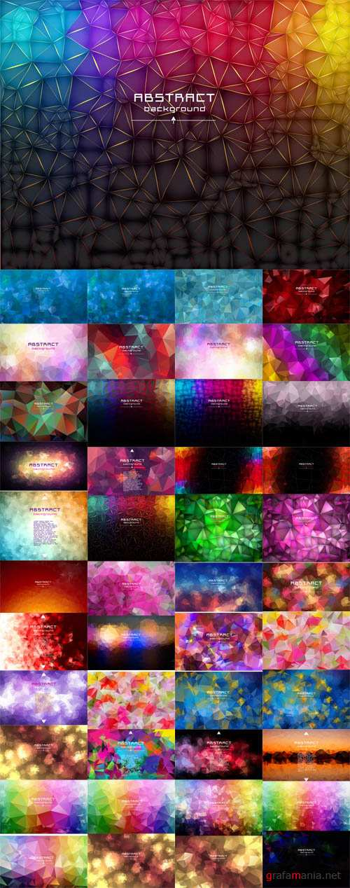 Vector Abstract Low Poly Triangles Backgrounds. Geometric Polygonal Design. Multicolor