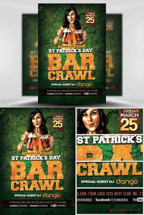 Flyer Template - St. Patricks's Day Bar Crawl