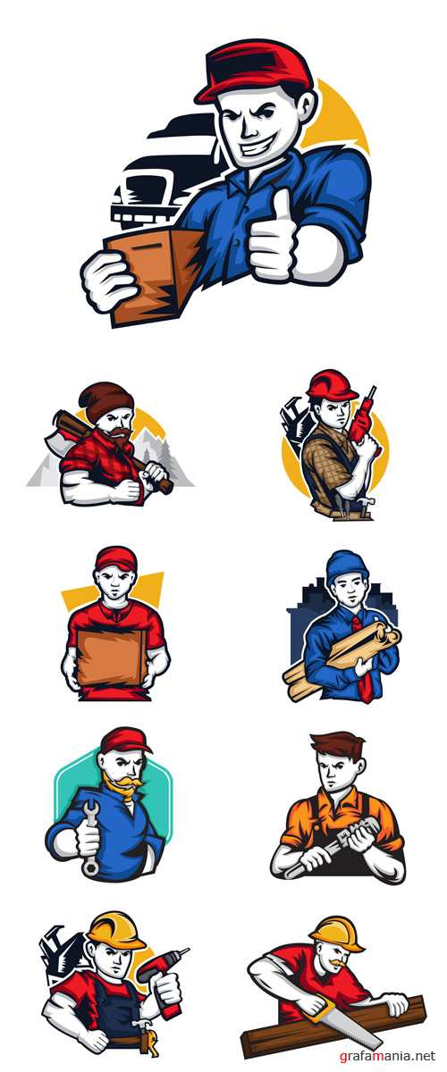 Vector Modern Logos Workers in Cartoon Style