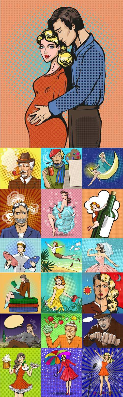 Vector Women and Man Pop art Illustrations
