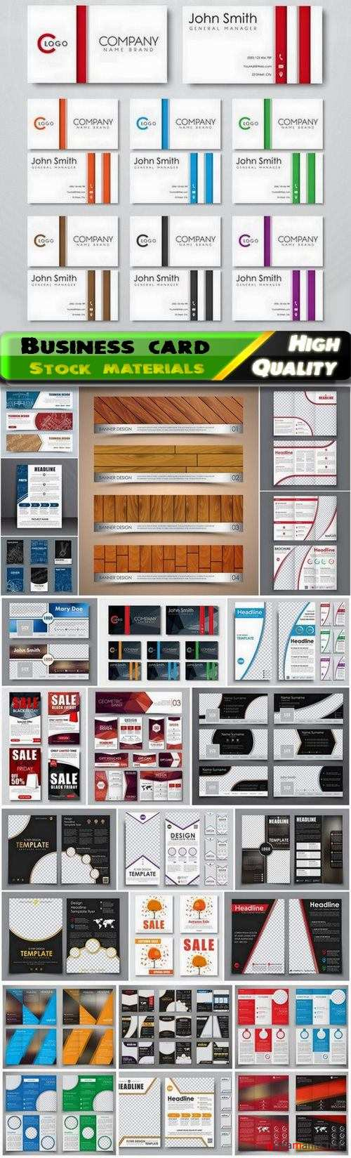 Business card flyer poster magazine corporate layout 25 Eps