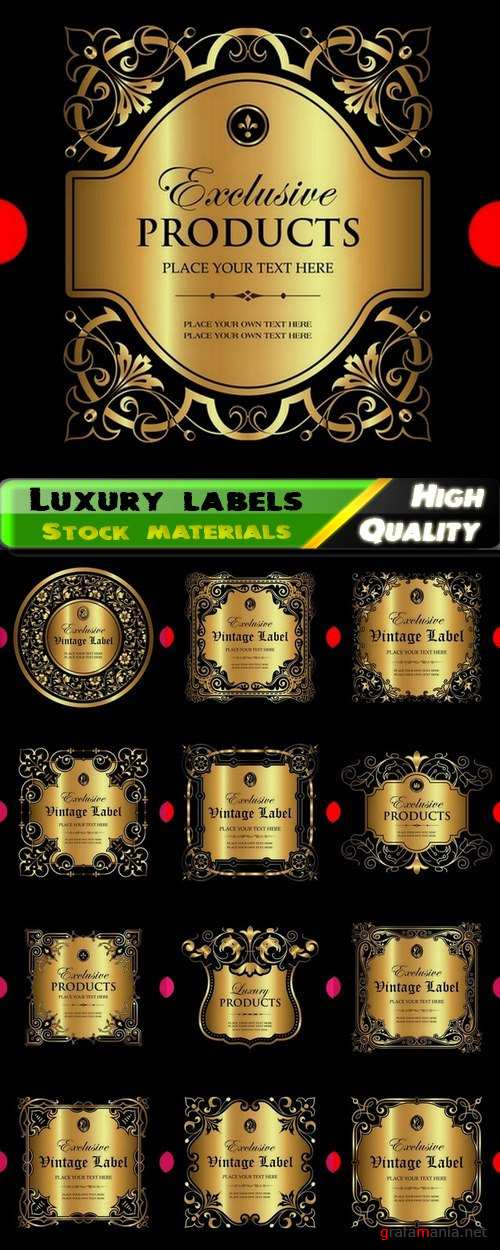 Luxury ornamental label with vintage royal gold frame 13 Eps