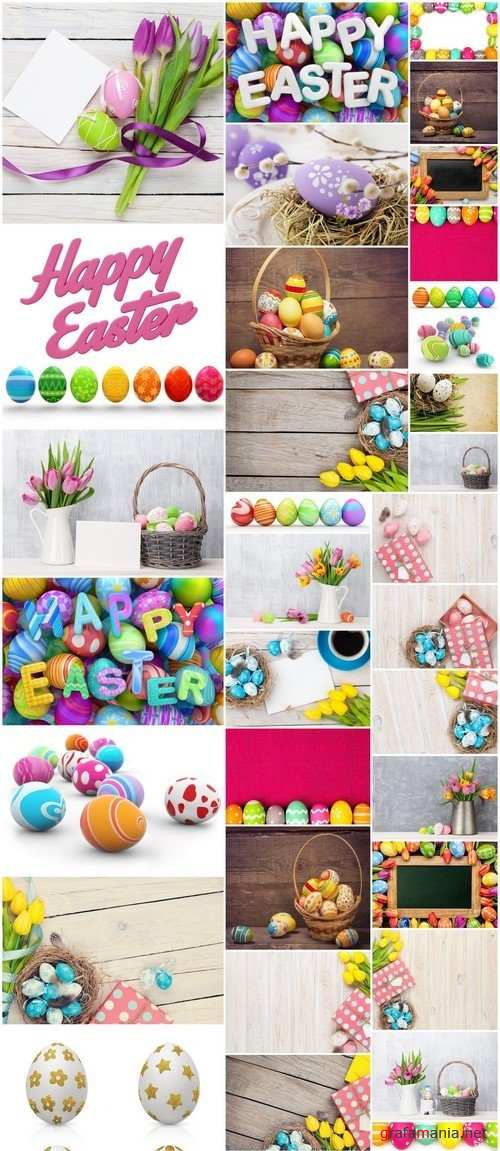 Easter eggs and colorful tulips bouquet 35X JPEG