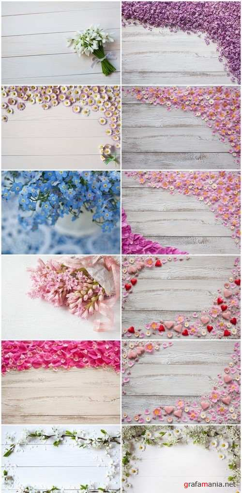 Wooden background with flowers 12X JPEG