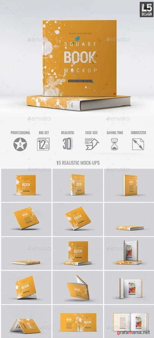 Square Book Mock-Up 16179756