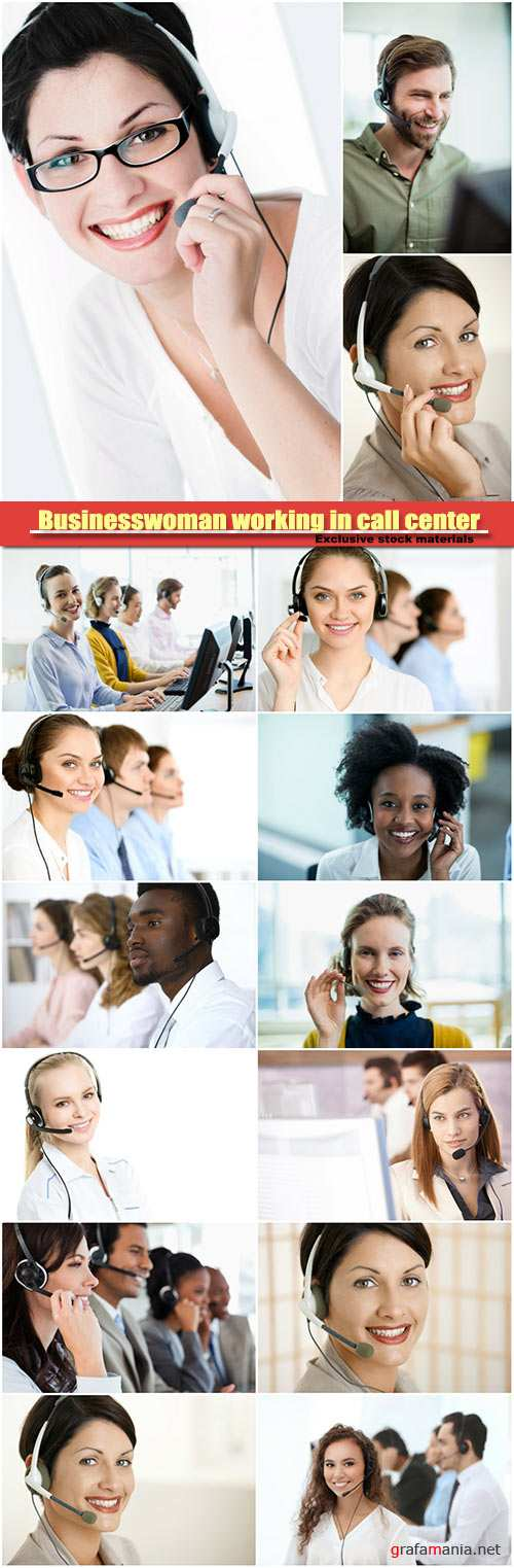 Young business people working in call center