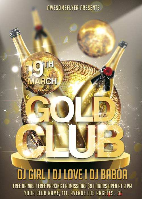Gold Club Party V11 Flyer Template