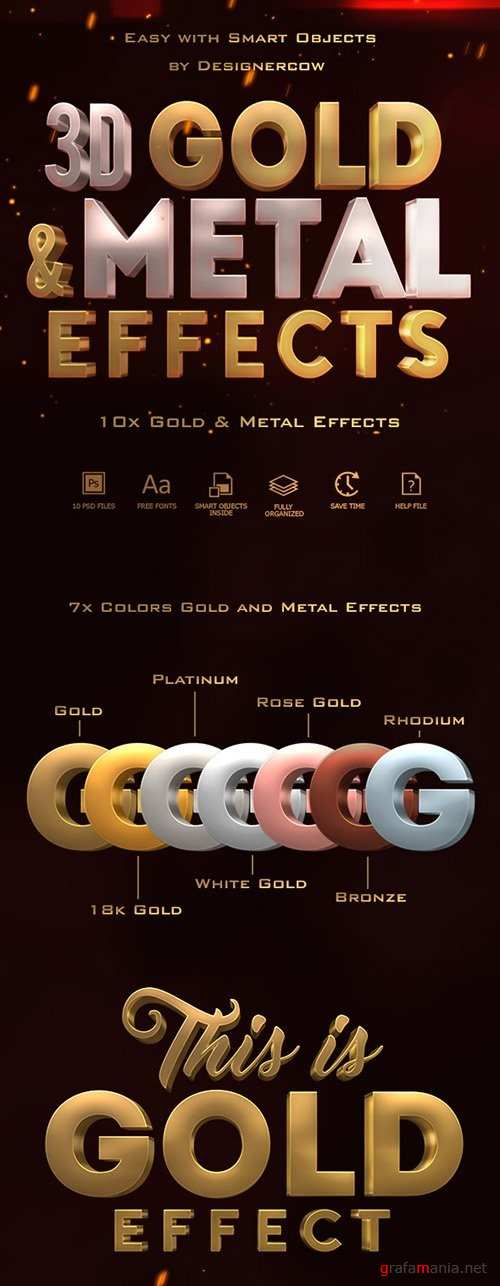 3D Gold and Metal Effects 19406450
