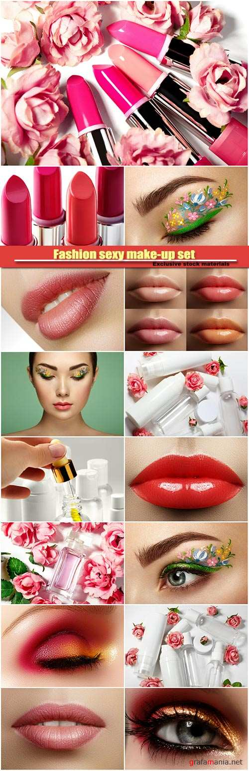 Fashion sexy make-up set, female plump lips, perfume bottle, female eye