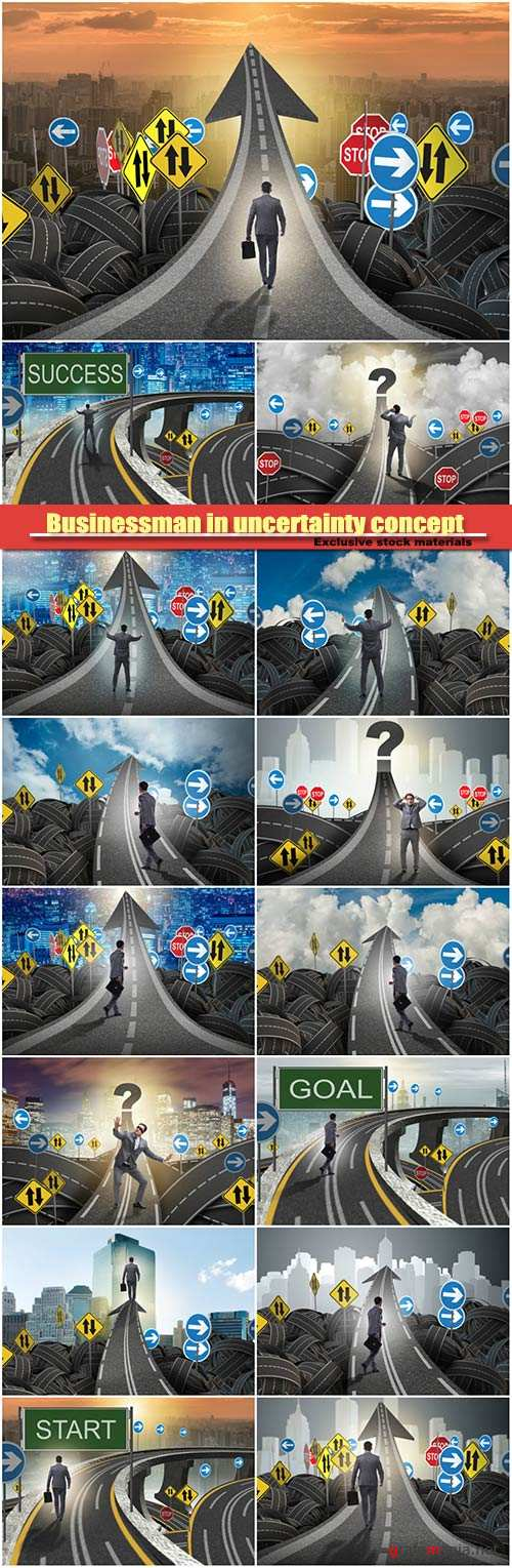Businessman in uncertainty concept on road intersection crossroad