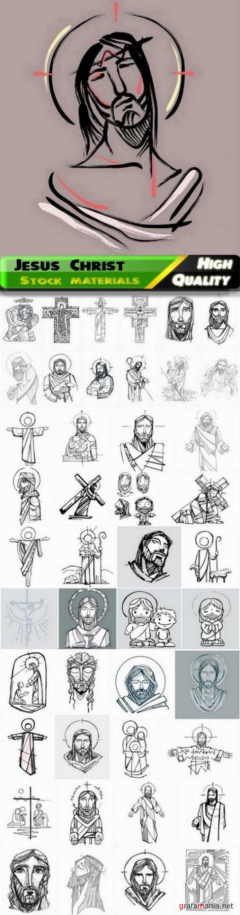 Hand drawn sketches of Jesus Christ and Christian religion 45 Eps