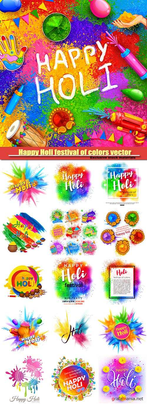 Happy Holi festival of colors vector