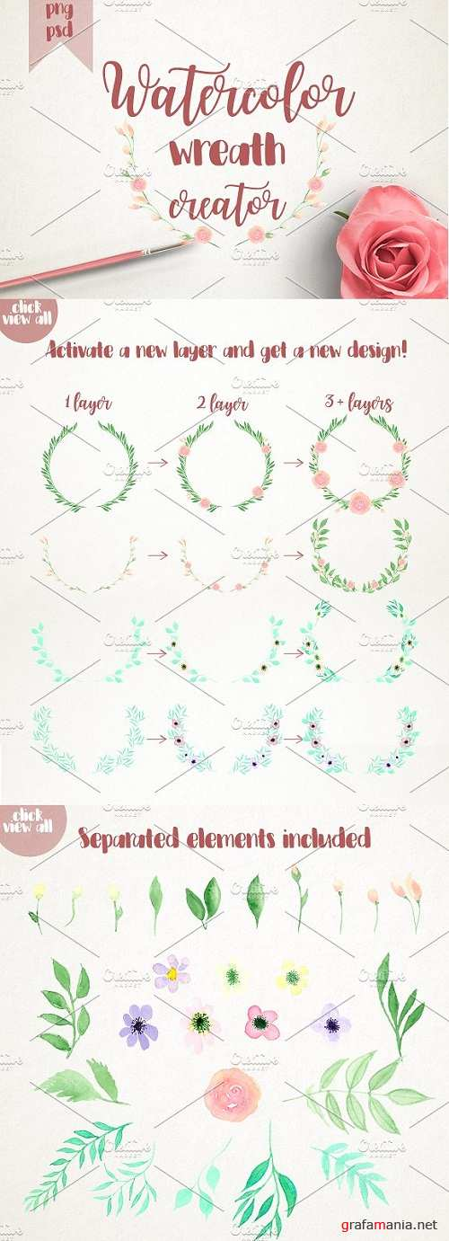 Watercolor wreath creator - 1107210