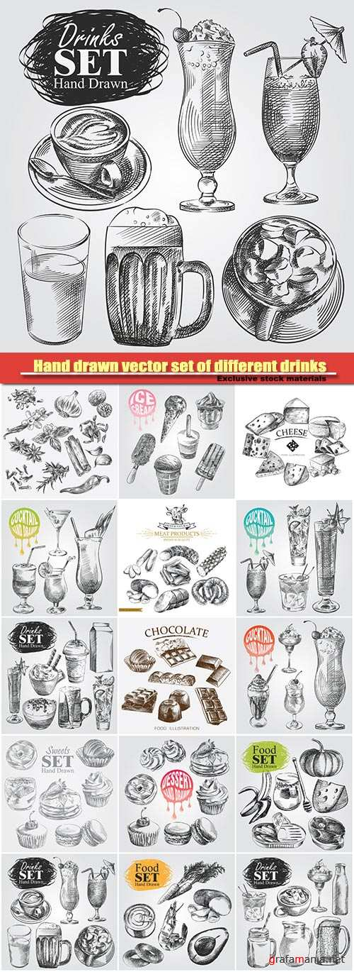 Hand drawn vector set of different drinks isolated on white background