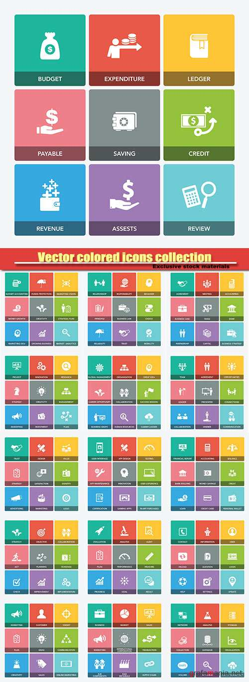Vector colored icons collection
