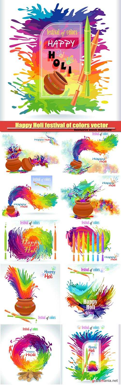 Happy Holi festival of colors vector background