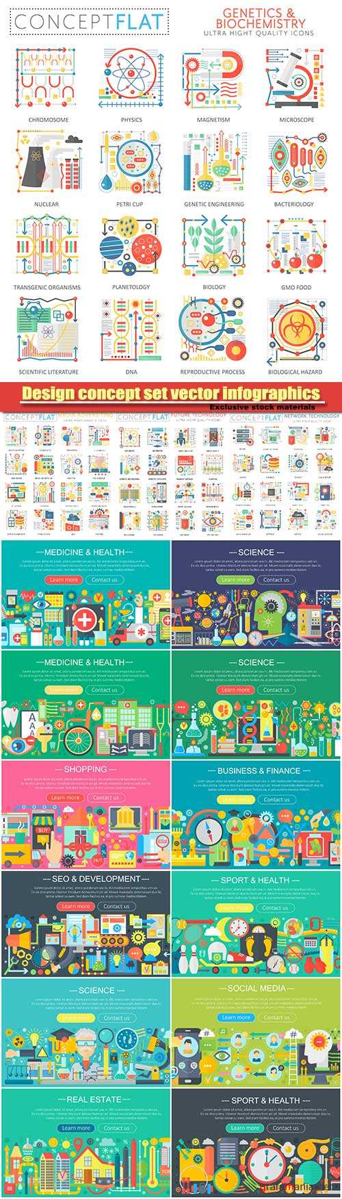 Medicine and health design concept set vector infographics, food and sport icons