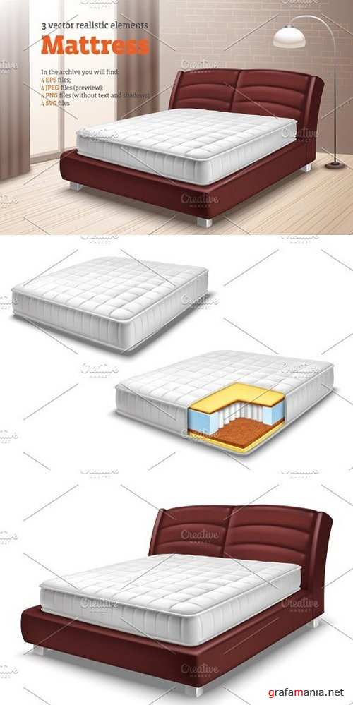 Mattress Realistic Set 1322847