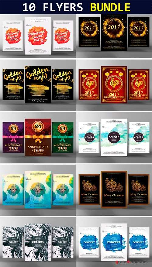 10 Abstract Party Flyers Bundle - 1320379