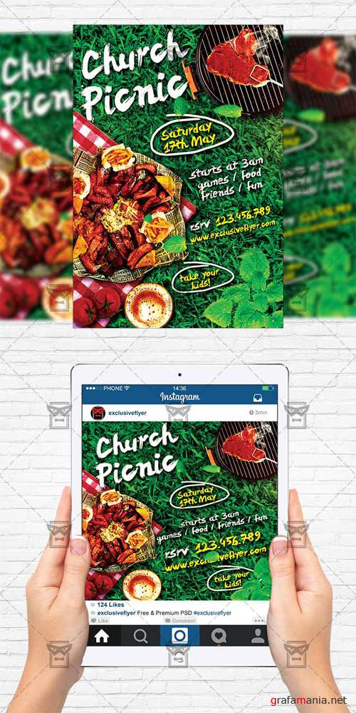 Flyer Template + Instagram Size Flyer - Church Picnic