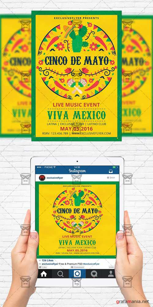 Flyer Template + Instagram Size Flyer - Viva Mexico Party