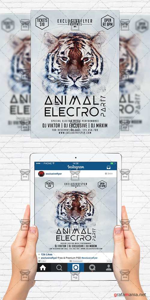 Flyer Template + Instagram Size Flyer - Animal Electro Party