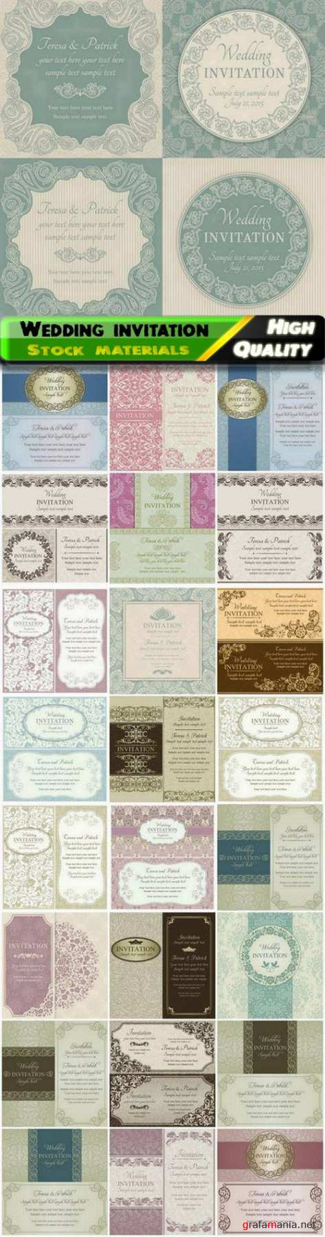 Greeting card and wedding invitation with floral vintage frames 25 Eps