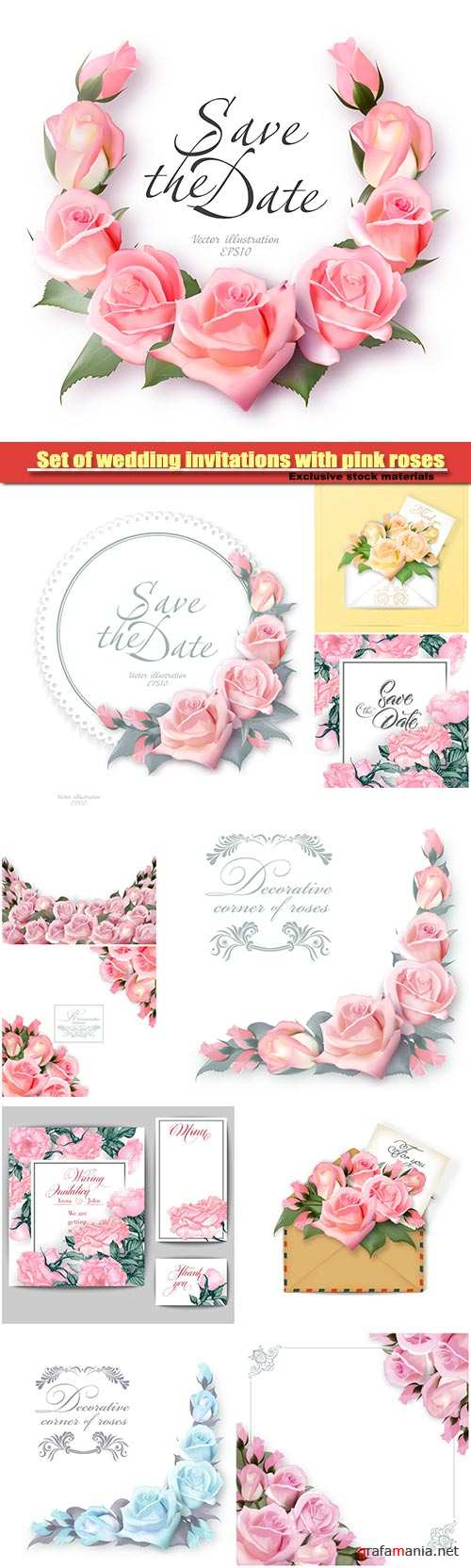Set of wedding invitations with pink roses, vector template